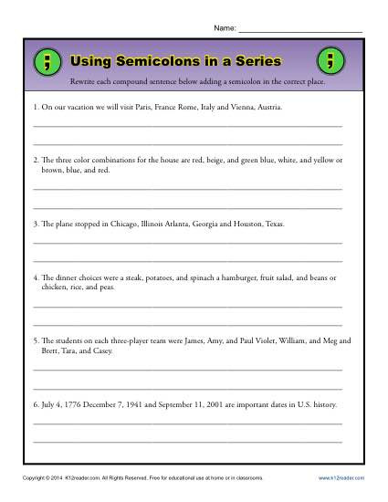 Commas In A Series Worksheet Using Semicolons In A Series
