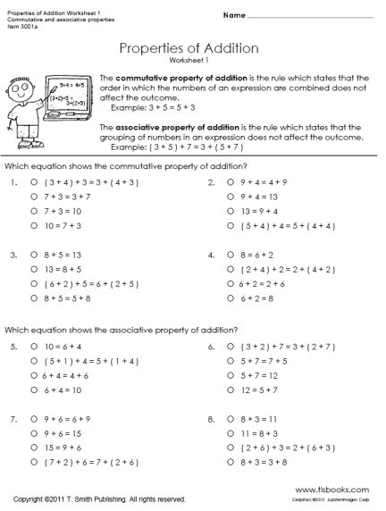 Commutative and associative Properties Worksheet Properties Of Addition Worksheets 1 and 2
