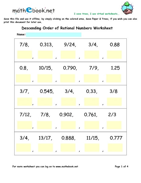 Comparing Rational Numbers Worksheet Descending order Of Rational Numbers Worksheets Worksheet