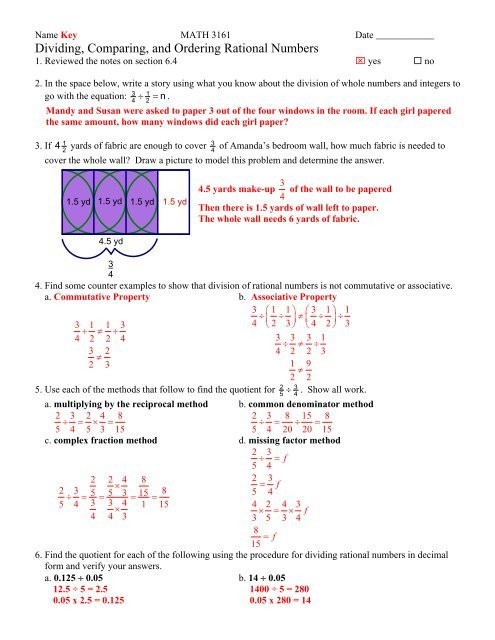 dividing paring and ordering rational numbers worksheet