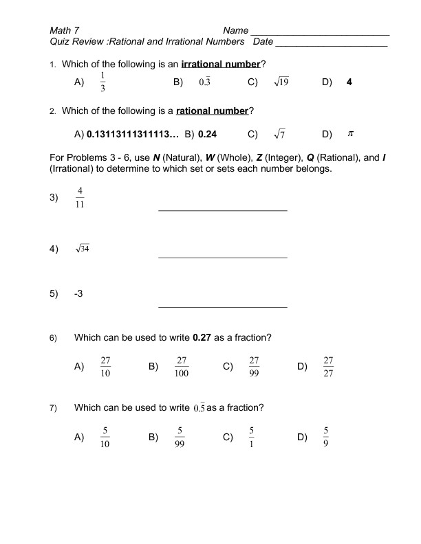 Comparing Rational Numbers Worksheet Quiz Review Rational and Irrational Numbers Worksheet for