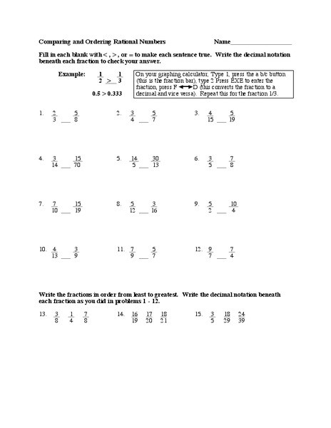Comparing Rational Numbers Worksheet Rational Numbers Worksheet for 7th 8th Grade