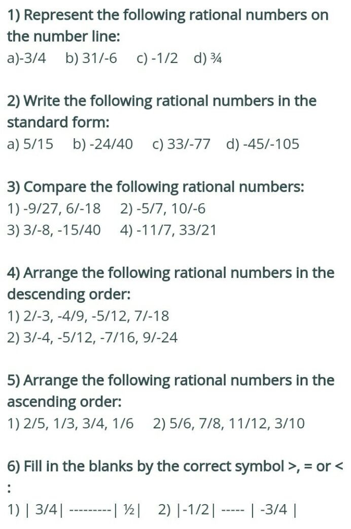 Comparing Rational Numbers Worksheet Rational Numbers Worksheets Brainly In Grade Math Ia