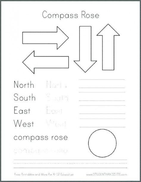 Compass Rose Worksheets Middle School First Grade Map Worksheets Printable Di 2020