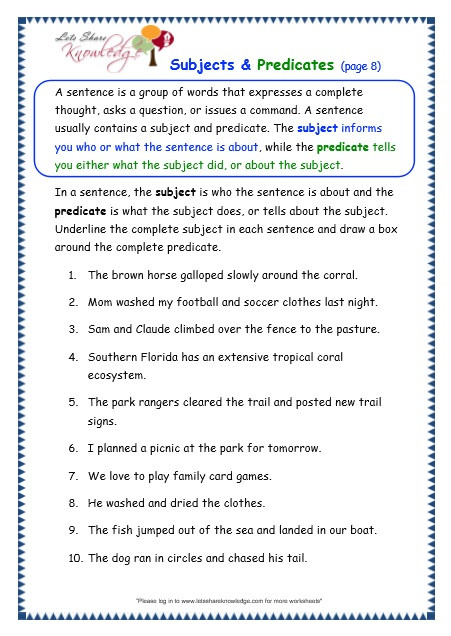 Complete Subject and Predicate Worksheet Grade 3 Grammar topic 38 Subjects and Predicates Worksheets