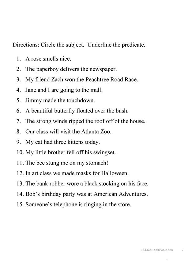 Complete Subject and Predicate Worksheet Identifying Subject and Predicate Worksheet English Esl