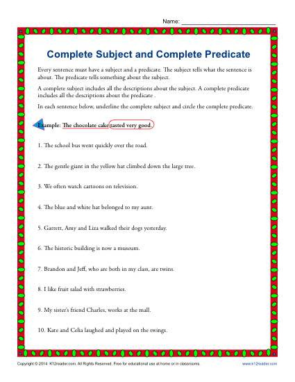 Complete Subject and Predicate Worksheet Plete Subject and Plete Predicate
