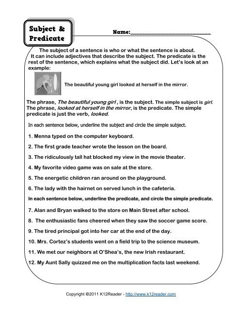 Complete Subject and Predicate Worksheet Subject and Predicate Worksheet