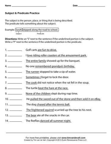 Complete Subject and Predicate Worksheet Subject and Predicate Worksheets First Grade Language Arts