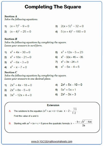 Completing the Square Worksheet 46 Pleting the Square Worksheet In 2020