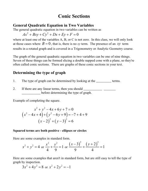 Completing the Square Worksheet Conic Sections Worksheet