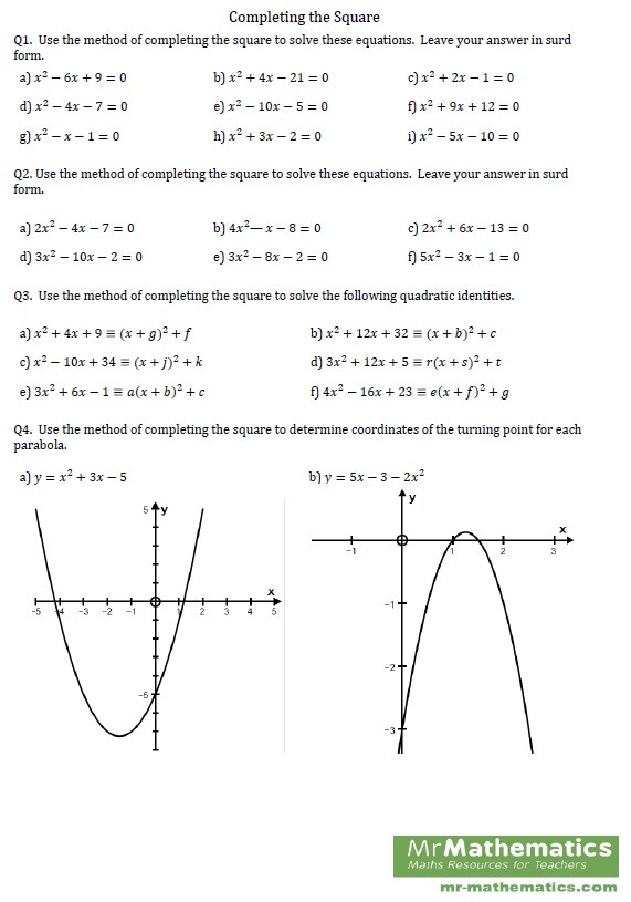 Completing the Square Worksheet Pleting the Square