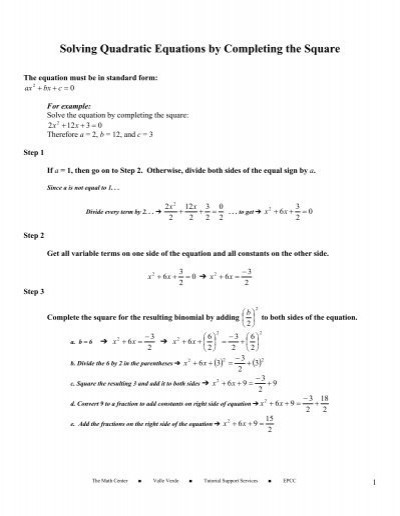 Completing the Square Worksheet solving Quadratic Equation by Pleting the Square