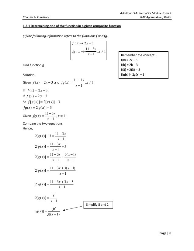 Composite Functions Worksheet Answers Chapter 1 Functions