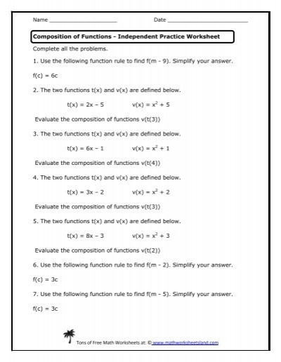 Composite Functions Worksheet Answers Mathworksheetsland Position Functions Answers to Math