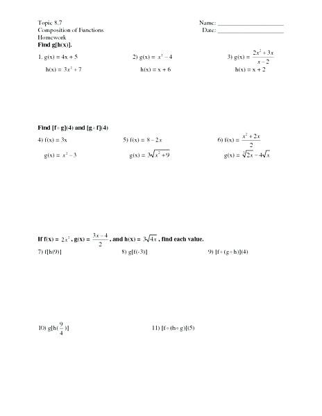 Composite Functions Worksheet Answers Position Functions Worksheet with Answers