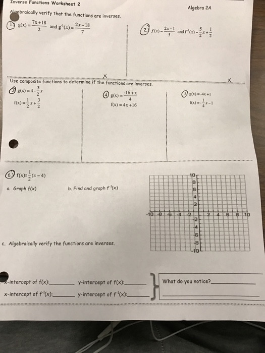 Composite Functions Worksheet Answers solved Inverse Functions Worksheet 2 Algebra 2a Braically