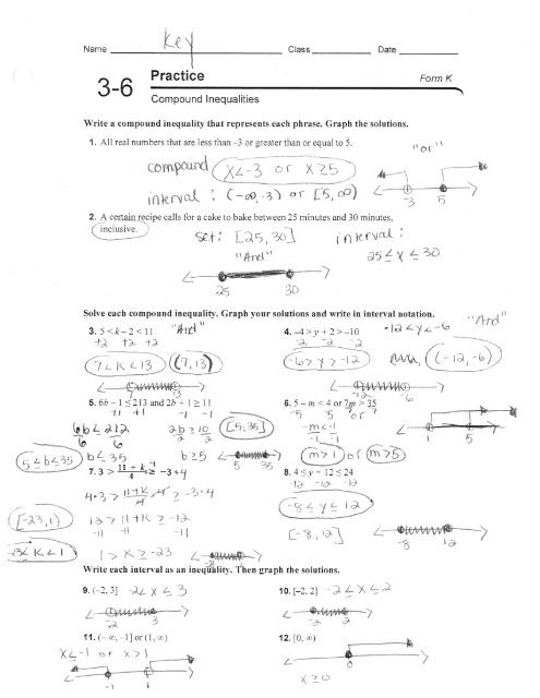 Compound Inequalities Worksheet Answers Practice 3 6 form K Pound Inequalities Hamilton Local