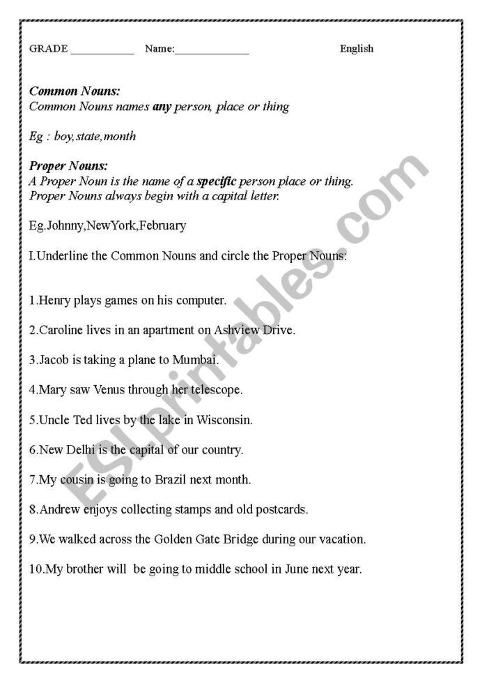 Computer Worksheets for Middle School English Worksheet Mon Proper Nouns and Demonstrative