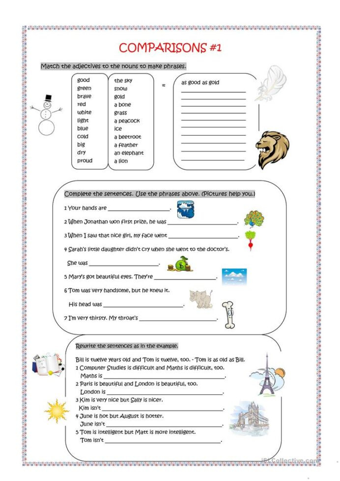 Computer Worksheets for Middle School Parisons as English Esl Worksheets for Distance In asas