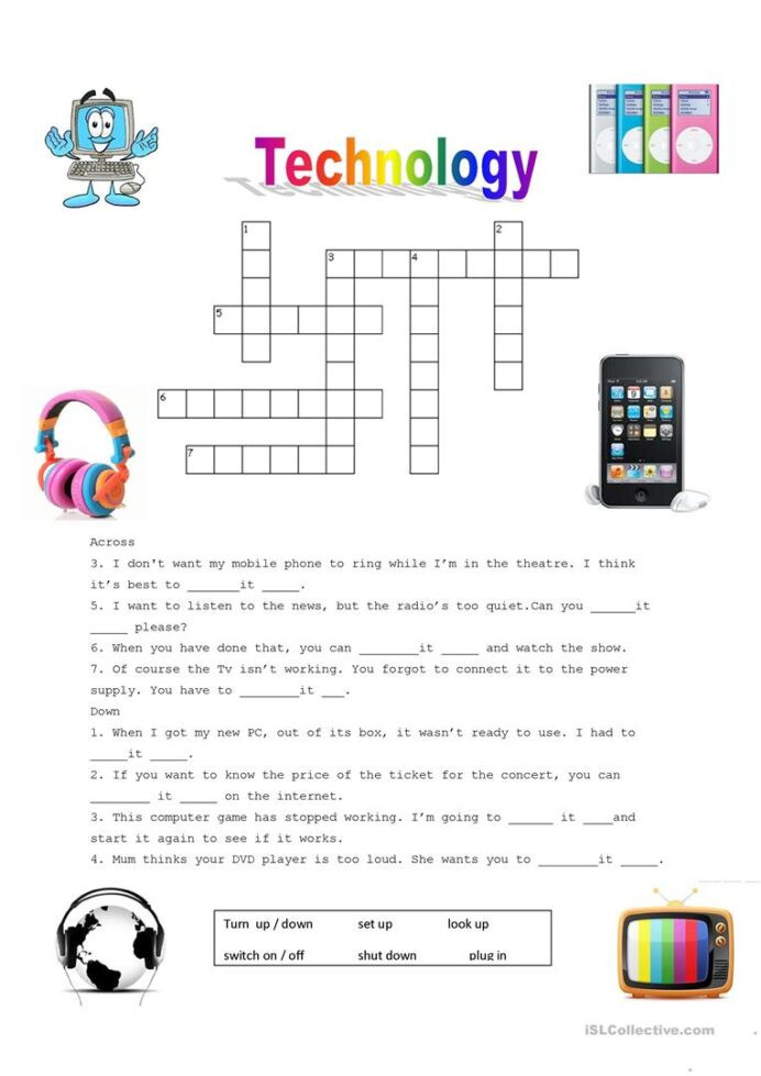 Computer Worksheets for Middle School Technology Puzzle English Esl Worksheets for Distance