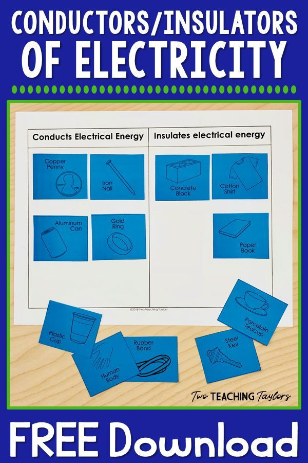 Conductors and Insulators Worksheet Electrical Conductors and Insulators Free sorting Activity