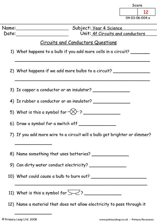 Conductors and Insulators Worksheet Science Circuits and Conductors Questions