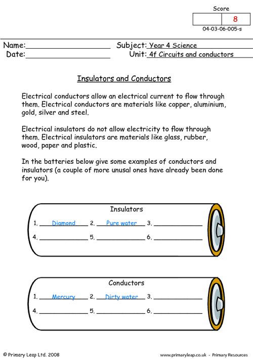 Conductors and Insulators Worksheet Science Insulators and Conductors Worksheet