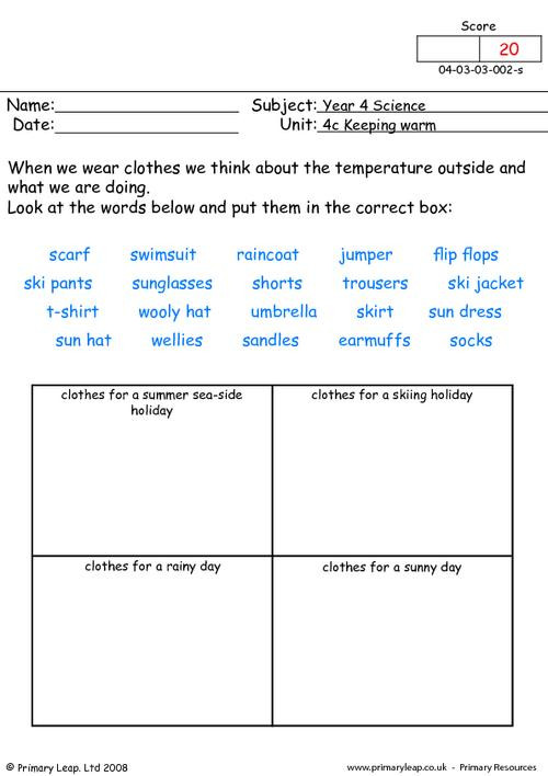 Conductors and Insulators Worksheet Science Keeping Warm Clothes Worksheet
