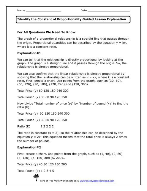 Constant Of Proportionality Worksheet Identify the Constant Of Proportionality Guided Lesson