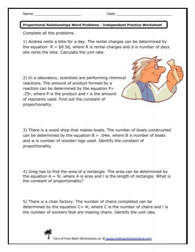 Constant Of Proportionality Worksheet Proportional Relationships Word Problems Practice Worksheet