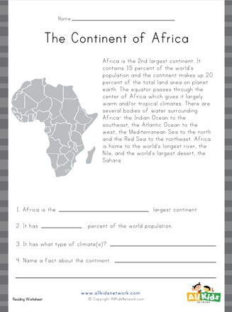 Continents and Oceans Worksheet Pdf Africa Reading Prehension Worksheet