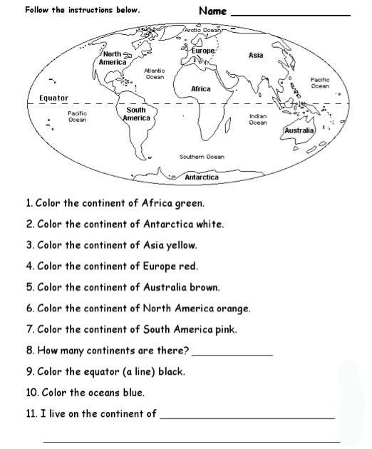 Continents and Oceans Worksheet Pdf Blank Continents and Oceans Worksheets