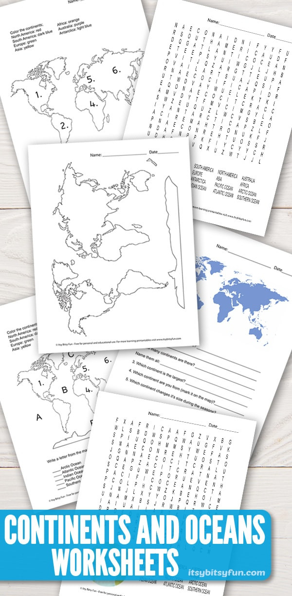 Continents and Oceans Worksheet Pdf Continents and Oceans Worksheets Free Word Search Quiz