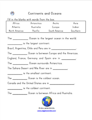 Continents and Oceans Worksheet Pdf Continents Oceans Easy Cloze
