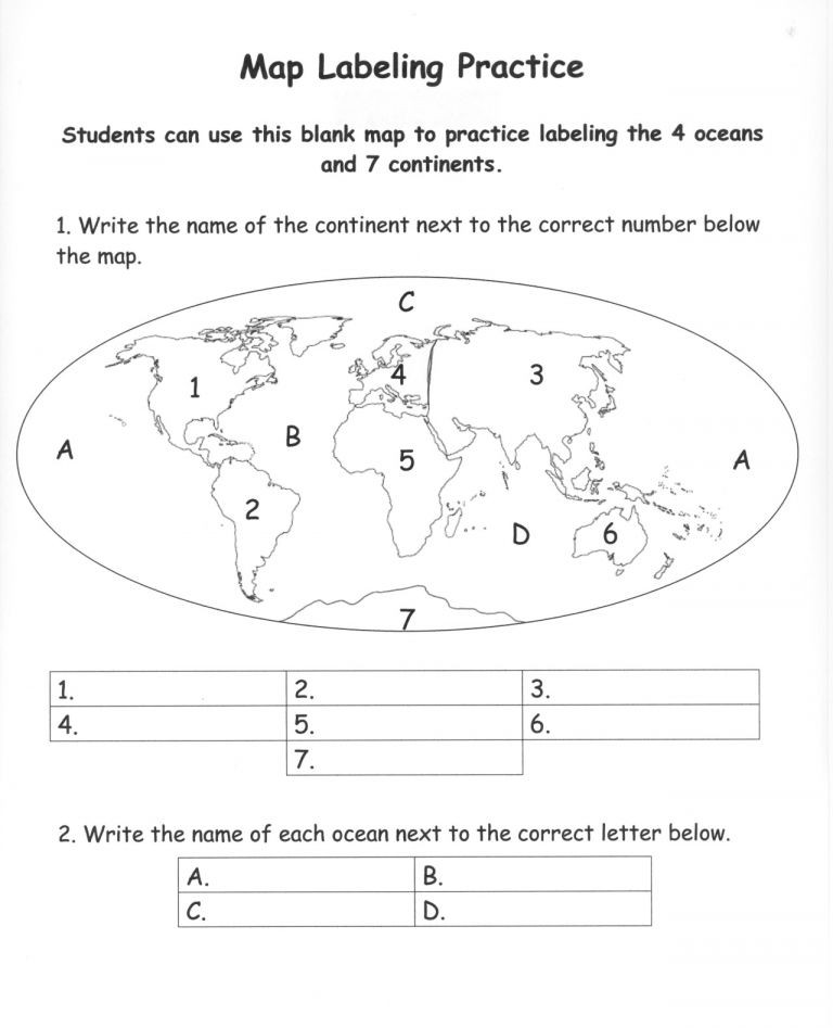 Continents and Oceans Worksheet Pdf Pin On Classroom