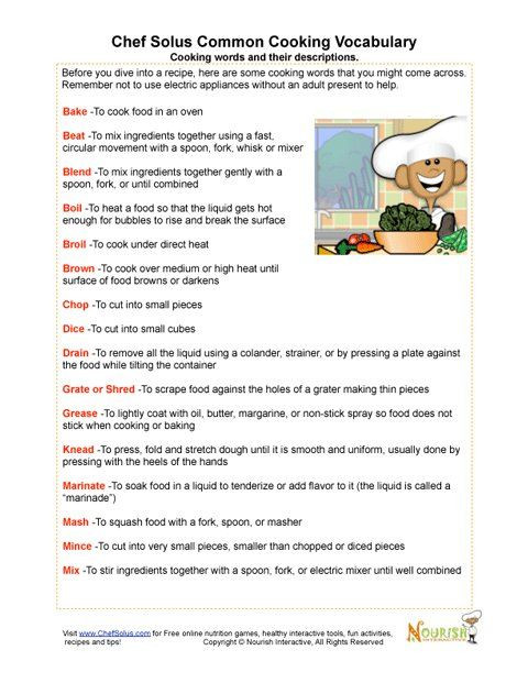 Cooking Worksheets for Middle School Our Vocabulary Page Includes Cooking Terms and Definitions