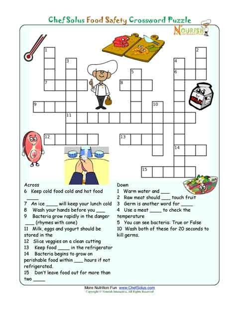 Cooking Worksheets for Middle School Printable Nutrition Crossword Puzzle Food Safety