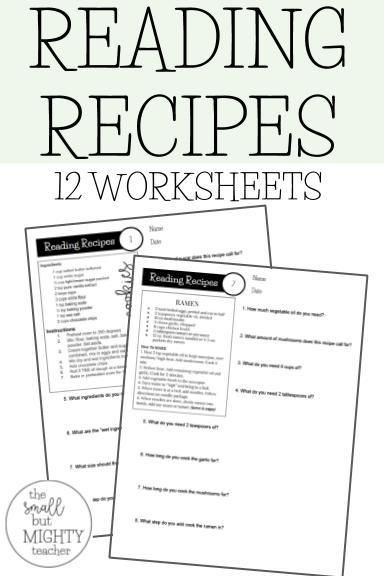Cooking Worksheets for Middle School Recipes Worksheets Digital Learning