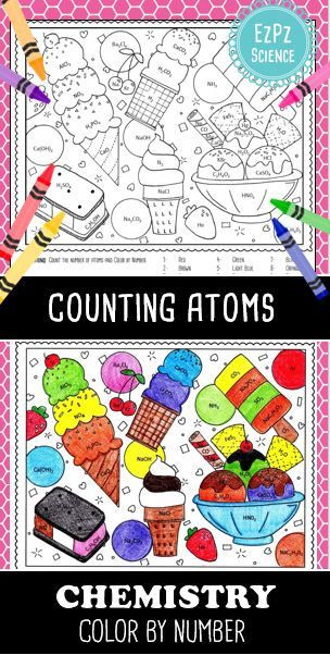 Counting atoms Worksheet Answer Key Counting atoms Chemistry Color by Number Ice Cream