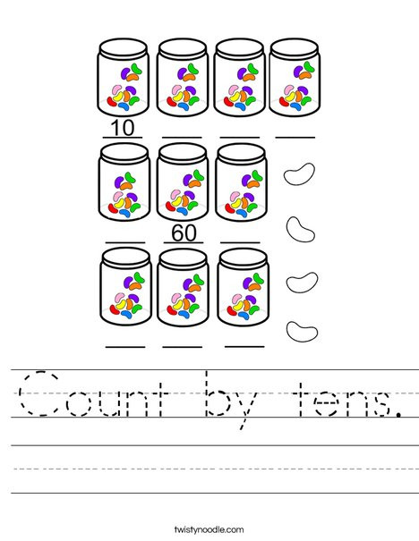 Counting by 10s Worksheet Count by Tens Worksheet Twisty Noodle