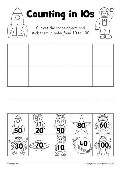 Counting by 10s Worksheet Counting In 10s Cut and Stick Worksheets Sb Sparklebox