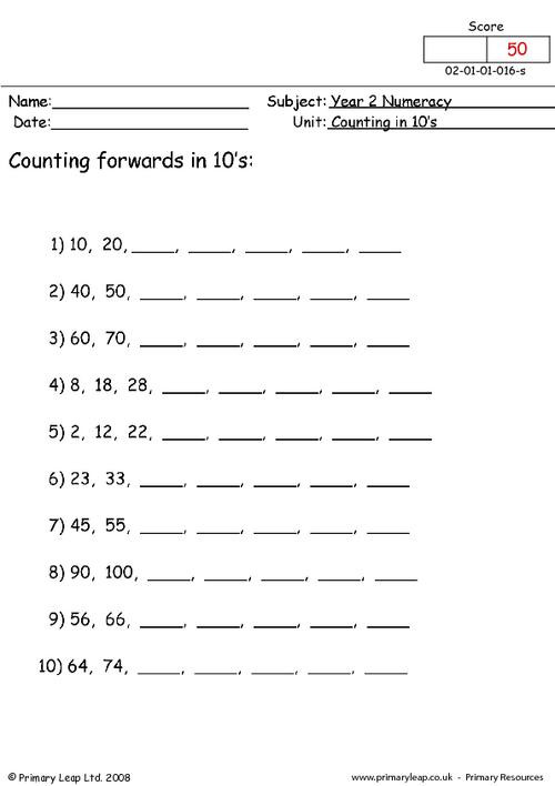 Counting by 10s Worksheet Numeracy Counting In 10s 1 Worksheet