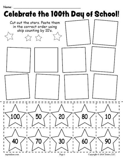 Counting by 10s Worksheet Printable 100th Day Of School Skip Counting by 10 S