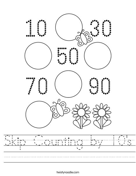 Counting by 10s Worksheet Skip Counting by 10 S Worksheet Twisty Noodle