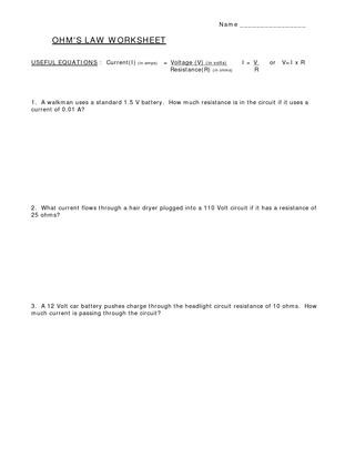 Current Voltage and Resistance Worksheet Ohms Law Work Sheet by Notak Larpkern issuu
