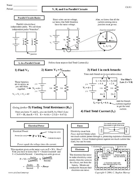 Current Voltage and Resistance Worksheet V R and I In Parallel Circuit Worksheet for 10th Higher