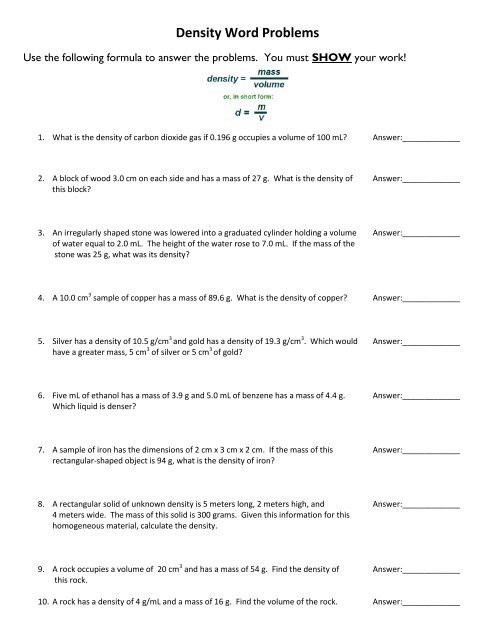 Density Practice Problem Worksheet Answers Density Word Problems Fulton County Schools