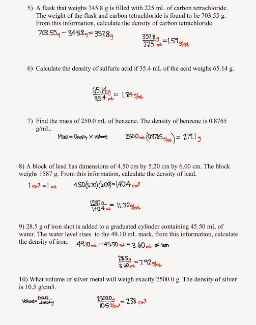 Density Practice Problem Worksheet Answers tom Schoderbek Chemistry Density Problems