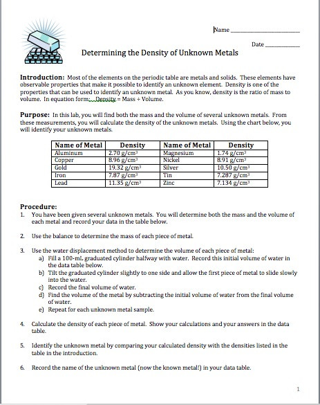 Density Worksheet Answer Key Amy Brown Science Lab Determining the Density Of Unknown
